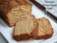 "Makes 10 slices It's no secret that I'm a bit obsessed with banana bread. Just enter ""banana bread"" in the search box and you'll find out why. If I remember rightly, I… Keto Banana Bread, Baked Banana, Banana Coconut, Banana Bread Recipes, Banana Recipes Thermomix, Thermomix Bread, Thermomix Desserts, Baby Food Recipes, Sweet Recipes"