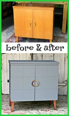 Metallic Copper and Gray painted furniture makeover with before and after photos and complete tutorial 24 Easy DIY Furniture Makeovers Beginner Friendly Painted Furniture Makeover Ideas and Tips - Diy Furniture Renovation, Furniture Projects, Furniture Refinishing, Retro Furniture Makeover, Furniture Stores, Furniture Outlet, Restoring Furniture, Furniture Cleaning, Furniture Market
