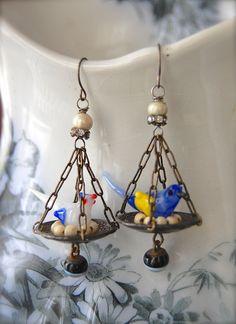 NestedAntique Vintage Blown Glass Bird and Handmade by Opaline1214