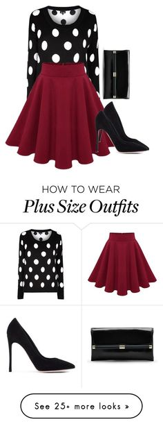 """Plus Size Dots"" by kurvy-katie on Polyvore featuring Gianvito Rossi and Diane…"