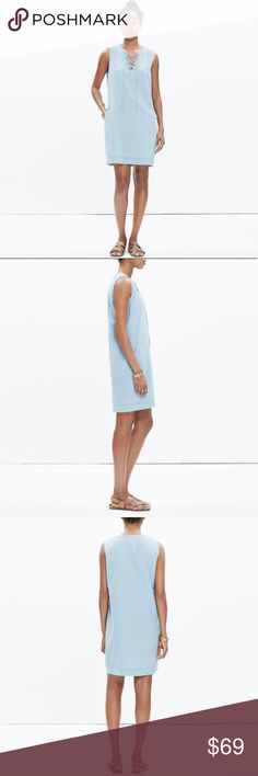 """MADEWELL Chambray Lace Up Sleeveless Denim Dress L MADEWELL Sleeveless Laceup Jean Dress. Size Large. Retail price $110.  Timeless denim meets our favorite nod-to-the-'70s lace-up neckline. A laid-back shift dress—pair with sandals or your go-to sneaks for an instant outfit. Mint condition with no flaws. No trades please 💕  Nonwaisted. Falls 36"""" from highest point of bodice - 21"""" pit to pit Cotton Machine wash Madewell Dresses Mini"""
