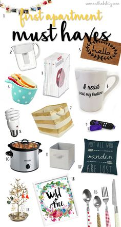 First Apartment Must Haves! These items are super cute and will transform any new apartment into a cozy home! Perfect for college students or twenty something millennials!