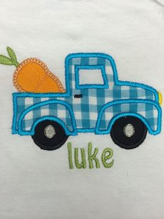 Spring shirt Easter shirt carrot in truck by EMembroiderycrochet