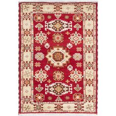 Accent your home with this stylish Indian rug, featuring hand-knotted artisan wool construction. The rug exudes a geometric pattern that will please even the most discerning interior decorators with tones of red, khaki, beige and brown.
