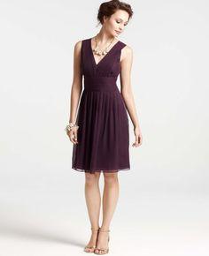 Ann Taylor - AT Bridesmaid Dresses - Silk Georgette Pleat Tank Dress