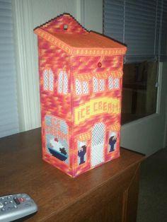 Ice Cream Shop Plastic Bag Holder Plastic Canvas Crafts, Plastic Canvas Patterns, Grocery Bag Holder, Plastic Bag Holders, Bag Hanger, Cute Crafts, Girl Stuff, Needlepoint, Leotards
