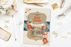 Woodland Fox Shower Invitation- Fox- Baby Shower- Birthday- Flowers- Kraft Paper- Customized- Printable- Digital File- DIY by 4414Designs on Etsy
