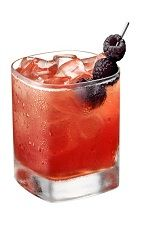 Velvet Dream - The Velvet Dream drink is made from Chambord vodka, vanilla liqueur, ruby red grapefruit juice, cinnamon, pomegranate juice and raspberries, and served in an old-fashioned glass.