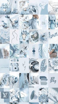 Spice up your room with this aesthetic soft blue photo wall collage!