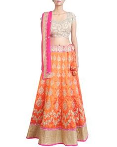 Get Raw Silk Embroidered Lehenga Choli in Orange Color Diwali Party, Embroidered Silk, Lehenga Choli, Indian Dresses, Orange Color, Two Piece Skirt Set, Bridal, Skirts, Fashion