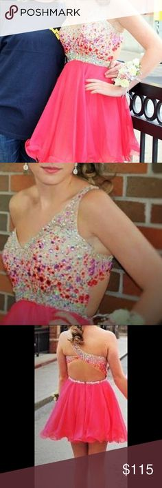 Homecoming dress. Worn once. Size 6, altered to a 2/3, but can be taken back out to a 6. Blush. Smoke free home. Blush Dresses Prom