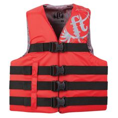 Full Throttle Teen Nylon Life Vest - and Over - Red Red Design, Fish Design, Sports Vest, Fly Shop, Full Throttle, Oxford Fabric, Water Sports, Vest Jacket, Teen