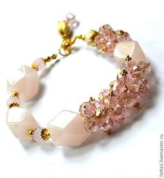 "Браслеты ручной работы. Ярмарка Мастеров - ручная работа Браслет  ""Царица цветов"" позолота (Розовый кварц,кристаллы). Handmade."