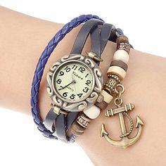 Women's Anchor Pendant Leather Band Quartz Analog Bracelet Watch (Assorted Colors) – USD $ 6.74