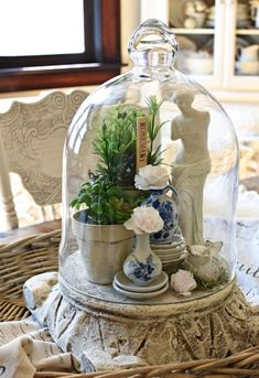 Today I am honored to be sharing my Colorful Vintage Cottage Style Summer Home Tour as part. Apothecary Jars Decor, Cloche Decor, Antique Sideboard, The Bell Jar, Decorated Jars, Arte Floral, Glass Domes, Vintage Colors, Cottage Style