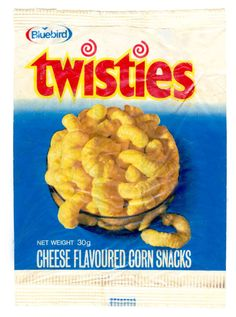 Front of bag of Bluebird Twisties (made in NZ) from 1970s Childhood, Childhood Memories, New Zealand Food And Drink, 1980s Food, Food Packaging, Vintage Packaging, King And Country, Kiwiana, All Things New