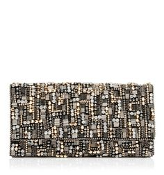 CL0932-Poppy Embellished Clutch/Gunmetal