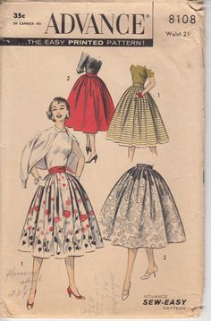 50s Skirt Pattern EASY DIRNDL SKIRT Side Pockets by HoneymoonBus, $12.99