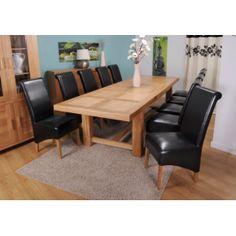 61 999Kč Grand Marseilles Komplet - velký dubový jídelní stůl s 10 koženými židlemi Krista – černá   http://www.easyfurn.cz/J%C3%ADdelna/Grand-Marsellies-Dubova-j%C3%ADdelna/Grand-Marseilles-Komplet-10-Krista%E2%80%93%C4%8Dern%C3%A1