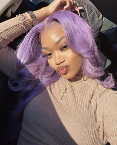 OMG Amazing look! 💯💯 Wanna this lavender color? The first step is buying a blonde one😘 # 613 blonde Braids WowEbony Peruvian Virgin Hair Natural Straight Blonde Color Glueless Full Lace Wigs Curly Hair Styles, Natural Hair Styles, Colored Natural Hair, Purple Natural Hair, Blond, Locks, Fibre Textile, Lavender Hair, Lavender Color