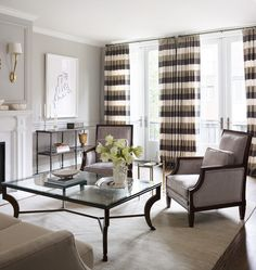 Striped curtains frame the room - 7 Ways to Incorporate Stripes into Your Home Decor