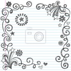 """Wall Mural """"notebook, art, happy - shooting stars and swirls sketchy doodles page border vector"""" ✓ Easy Installation ✓ 365 Days Money Back Guarantee ✓ Browse other patterns from this collection!"""