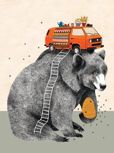 wanna climb into this illustration by Lieke van der Vorst Urso Bear, Cute Bear Drawings, Bear Art, Cute Bears, Oeuvre D'art, Graphic Illustration, Design Art, Street Art, Sketches
