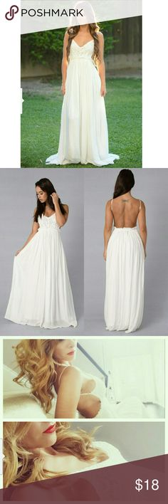 Ancient Rome Dress - White Maxi Length Crochet Top Open Back Frayed Hem Lined Self: 100% Rayon Lining: 100% Polyester Contrast: 100% Cotton Dresses Maxi