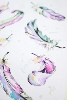 Ilustración plumas de acuarela