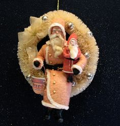 Sold for $78 + s/h Vintage-style Bottle Brush WREATH~German-style Santa Seated~ by:Jean Littlejohn