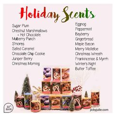 Our Holiday scents have arrived! Available in our classic candles and tarts plus our Pink Flame line.  jicbyjulie.com  #jicbyjulie#holiday #Thanksgiving #Christmas #marshmallows #smores #caramel #cookies #eggnog #bacon