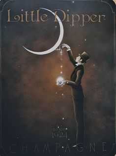 I love the spout on this moon, filling the glass with the sparkle of champagne, and the oh! so elegant gentleman complete with his top hat! From an old ad for champagne. Vintage Moon, Vintage Ads, Vintage Posters, Sun Moon Stars, Sun And Stars, Illustrations, Illustration Art, Plakat Design, Paper Moon