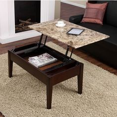 Find the Most Elegant Lift Top Coffee Table for Your House - Wonderful Marble Lift Top Coffee Table with Magazine Storage and Wooden Legs for Cozy Living Room