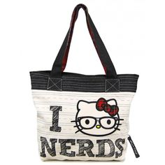 Loungefly Hello Kitty I Love Nerds Tote Bag, Beige (590 ARS) ❤ liked on Polyvore featuring bags, handbags, tote bags, purses, accessories, bolsas, bolsos, tote bag purse, tote handbags and beige tote bag