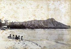 A view of Diamond Head before Waikiki became tourism's Waikiki, 1880s, Oahu, Hawaii.