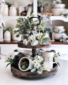 38 home decor trends for 2019 spring , 38 Home decor trends for 2019 for Spring , Decoration Source by Spring Kitchen Decor, Spring Home Decor, Painted Fox Home, Summer Centerpieces, Centrepieces, Centerpiece Ideas, Kitchen Buffet, Tray Styling, Tiered Stand