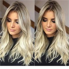 Hair style women and make up Archives - Gray Hair Style Love Hair, Great Hair, Hombre Hair, Medium Hair Styles, Long Hair Styles, Work Hairstyles, Hair Color And Cut, How To Make Hair, Blonde Highlights