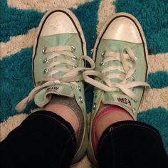 Mint Green Converse Cute mint green converse! Size 9 worn a few times Converse Shoes Sneakers