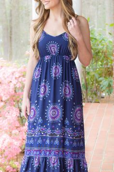 Cute Maxi Dress- Printed Navy Dress- Pretty Dresses