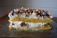 Kvæfjordkake, the national cake of Norway, has a custard filling & and a meringue top