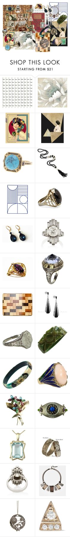 """""""Art Deco Jewelry"""" by kendrickquinn ❤ liked on Polyvore featuring Cole & Son, Ariella Collection, ferm LIVING, Vintage, Boucheron, Lafayette 148 New York and Jennie Kwon"""