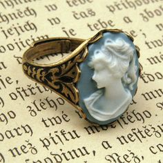 Blue Lady Cameo Ring - from my new favorite online jewelry store - Ragtrader Vintage Cameo Ring, Cameo Jewelry, Jewelry Box, Jewelry Accessories, Jewlery, Fine Jewelry, Jewelry Stores, Antique Engagement Rings, Antique Rings
