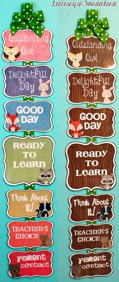 Learning in Wonderland: Woodland themed labels and clip chart