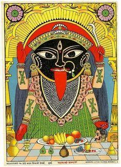 Hindu Goddess/Demoness - Mahakali of Kolkata (Kalighat Kali) -wearing a necklace of a men's heads. Durga, Hanuman, Krishna, Indian Classical Dance, Henna, Kali Goddess, Madhubani Painting, Madhubani Art, Divine Mother