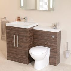 Luxury Walnut Combination Unit with Impressions Pan. Matching Vanity Unit and WC Unit (available in two sizes). Features include dual flush cistern and soft close seat. Basin Vanity Unit, Bathroom Vanity Units, Bathroom Basin, Bathroom Furniture, Cloakroom Suites, Ideal Bathrooms, Toilet, Sink, The Unit