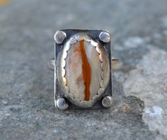 Picture Jasper Ring in Sterling Silver Rustic Ring by BazaarDChela, $100.00