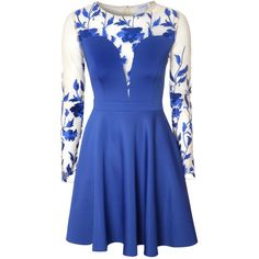 True Decadence Floral Mesh Skater Dress, Blue ($39) ❤ liked on Polyvore featuring dresses, party dresses, blue skater skirt, floral skater dress, blue prom dresses and flared skirt