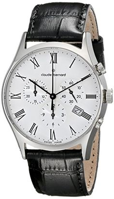 ff581f9ab5f9 Claude Bernard Mens 10218 3 BR Classic Dress Chronograph Analog Display  Swiss Quartz Black Watch