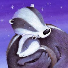 badgers hug family- Cee Biscoe 900 x 700 Baby Badger, Honey Badger, Badger Illustration, Children's Book Illustration, Tatty Teddy, Lovely Creatures, Illustrations And Posters, Animal Illustrations, Creature Comforts