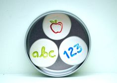 Teacher Gift Magnets set in a tin numbers letters by CariadClay, £7.50